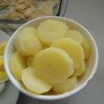 Batatas fatiadas e cozidas