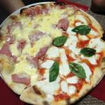 Pizza - Metade presunto e parmesão, metade marguerita