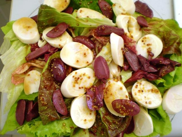 Salada folhas palmito azeitona